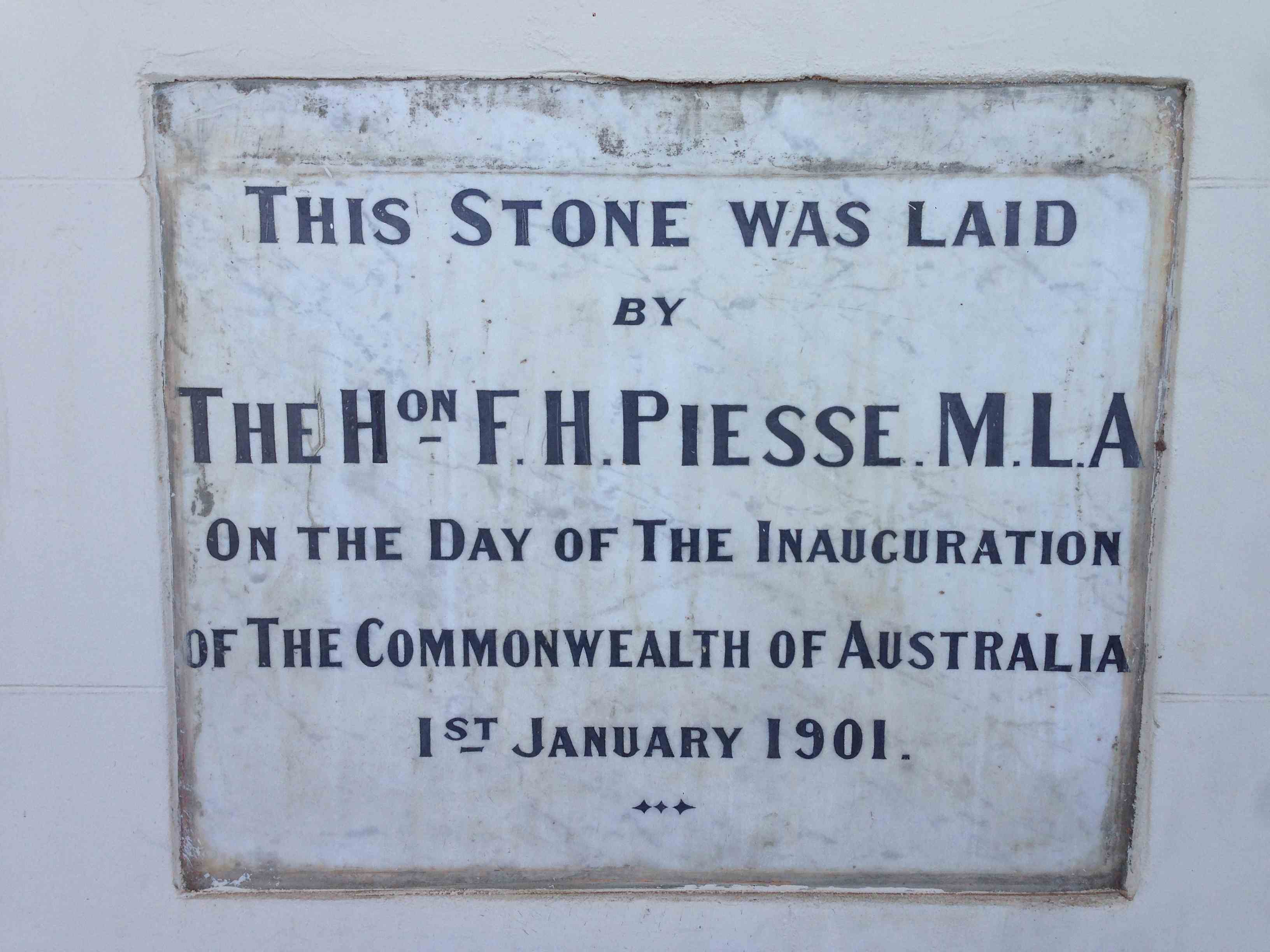 Stone Laid by FH Piesse